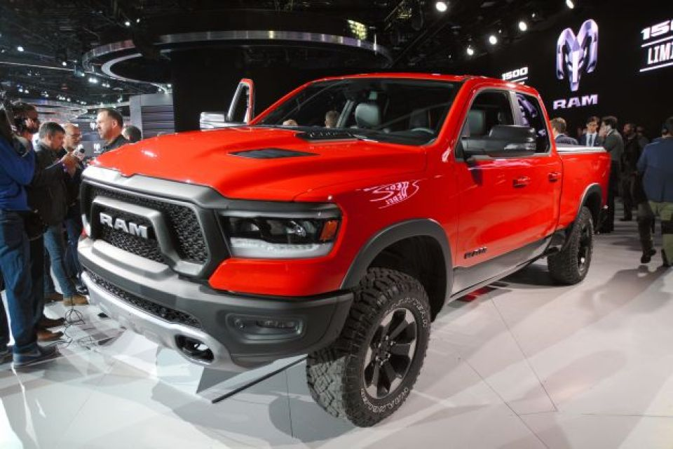 2019 Ram 1500 pickup truck of the Fiat Chrysler Automobiles (FCA) is displayed at the North American International Auto Show (NAIAS) on January 15, 2018 in Detroit, Michigan.